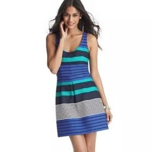 LOFT Fit & Flare Colorblock Stripe Dress